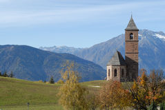Italian chapel. Chapel in the famous village Hafling, home of the horse breed Haflinger Stock Photo