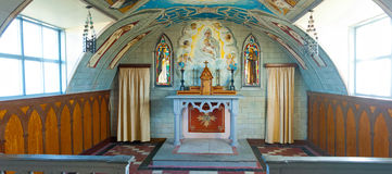 Italian Chapel on Lamb Holm. Interion of the Italian Chapel at the island of Lamb Holm at Orkney Islands, UK. The chapel , which shape resembles and aircraft Stock Image