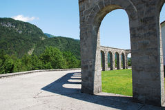 Italian Charnal House at Kobarid. Arches of the Italian Charnal House located on Gradic Hill in Kobarid, in the Littoral region of north east Slovenia. Opened in Stock Photo