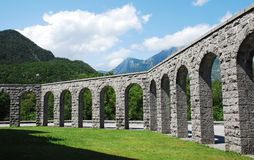 Italian Charnal House at Kobarid. Arches of the Italian Charnal House located on Gradic Hill in Kobarid, in the Littoral region of north east Slovenia. Opened in Stock Photos