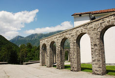 Italian Charnal House at Kobarid. Arches of the Italian Charnal House located on Gradic Hill in Kobarid, in the Littoral region of north east Slovenia. Opened in Stock Images