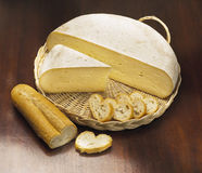 Italian cheese with bread stock photo