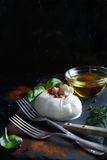 Italian cheese burrata, herbs and olive oil Royalty Free Stock Photos