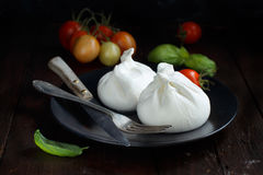 Italian cheese burrata, tomatoes, basil Stock Images
