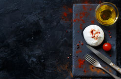 Italian cheese burrata, tomatoes, spices and olive oil Royalty Free Stock Photography