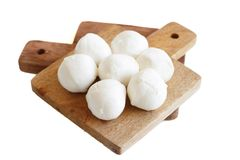 Italian cheese cherry mozzarella. Close up isolated on white royalty free stock images