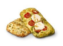 Italian cheese Focaccia bread isolated stock image