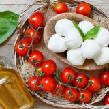Italian cheese mozzarella with tomatoes, olive oil and herbs stock image