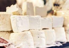 Italian cheese ricotta on the market in Catania, Sicily, Italy royalty free stock image