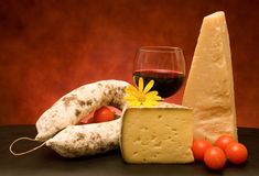 Italian Cheese And Salami Royalty Free Stock Photo