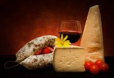 Italian Cheese And Salami Stock Photo