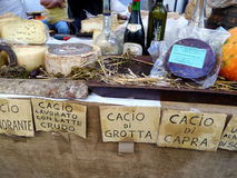 Italian Cheese And Wines In Sale. ORIOLO ROMANO, ITALY - SEPTEMBER 25, 2016: Italian cheese, wines, schnapps and pumpkins in sale on stand with the occasion of stock photography