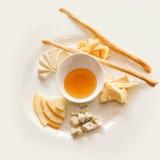 Italian cheeses. Tasty snack with italian cheeses Stock Image