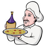 Italian chef. Cartoon illustration of an Italian chef holding pizza and wine bottle Stock Image