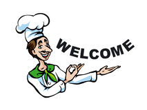 Italian chef. Illustration of italian chef with welcome sign Royalty Free Stock Image