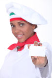 Italian chef. With a blank business card Stock Image