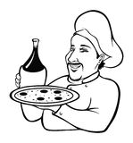 Italian Chef coloring book. Cartoon illustration of an Italian Chef coloring book Stock Image