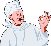 Italian Chef Cook okay sign. Vector illustration of an Italian chef cook holding up a perfect hand sign with done in retro style Royalty Free Stock Image