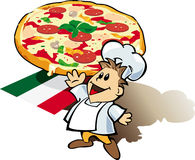 Italian chef cook with pizza giant. Illustration with great pizza and Italian chef cook smiling Stock Photo
