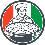 Italian Chef Cook Serving Pizza Circle Retro Stock Photography