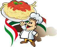 Italian chef cook with spaghetti. Italian chef cook with giant plate of pasta Stock Image