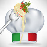 Italian chef hat with pasta. In fork Stock Photos