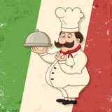 Italian chef. Image of funny italian chef character with grunge background Royalty Free Stock Images
