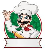 Italian Chef inside a circle. Italian Chef  inside a circle with blank banner Stock Photos