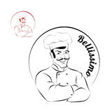 Italian chef. logo for restaurant. Bellissimo. Sign for a bakery Stock Photo
