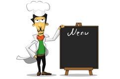 Italian chef with a menu Stock Photo
