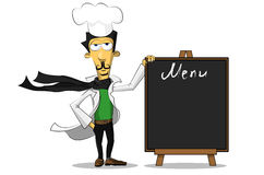 Italian chef with a menu Stock Images
