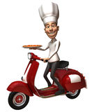 Italian chef with a pizza. 3d generated picture Royalty Free Stock Photo
