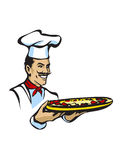 Italian chef with pizza. Illustration of italian chef with pizza Royalty Free Stock Images