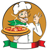 Italian chef with pizza Royalty Free Stock Photo