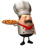 Italian chef with a pizza. 3d generated picture Royalty Free Stock Photos