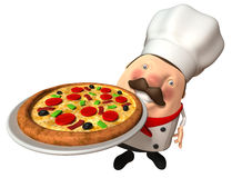 Italian chef with a pizza. 3d generated picture Stock Photos