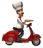 Italian chef with a pizza. 3d generated picture Royalty Free Stock Photography