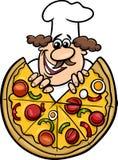 Italian chef with pizza cartoon illustration. Cartoon Illustration of Italian Cook or Chef with Big Pizza Stock Image