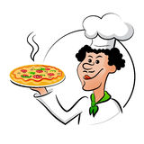 Italian chef with pizza. Cook pizza. Cook holding a pizza and licked. Vector illustration  on a white background. The idea of signs, labels, menus, brochures Royalty Free Stock Photos