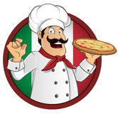 Italian chef. With a pizza in hand, vector Stock Photo