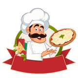 Italian chef. With a pizza in hand, vector Stock Photography