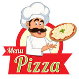 Italian chef. With a pizza in hand, vector Stock Image