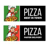 Italian chef. Pizza maker prepares a pizza. Vector logo. vector illustration
