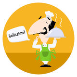 Italian chef saying Belissimo. Cartoon vector illustration for your design Royalty Free Stock Photography