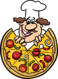 Italian Chef With Pizza Cartoon Illustration Stock Image