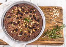 Italian chestnut cake, castagnaccio. Royalty Free Stock Photo