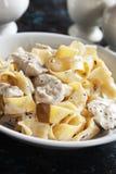 Italian chicken alfredo pasta Stock Photography