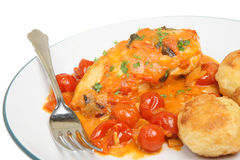 Italian Chicken Cacciatore. Chicken cacciatore served with roast potatoes Stock Image