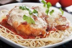Italian chicken parmesan with spaghetti pasta Royalty Free Stock Photo