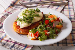 Italian chicken Parmigiana and fresh vegetable salad. Horizontal. Italian chicken Parmigiana and fresh vegetable salad close-up on the table. Horizontal Royalty Free Stock Photography